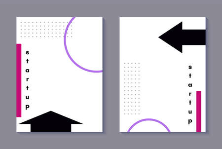 Set of memphis style covers with a minimal design. Cool geometric backgrounds for your design. Applicable for Banners, Placards, Posters, Flyers . Vector.