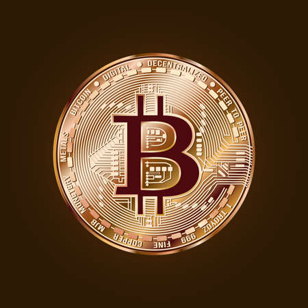 Image of a coin. Bitcoin. Cryptocurrency. Vector.