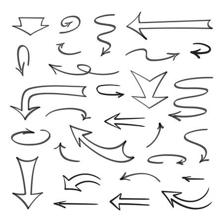 A set of arrows and pointers drawn on a white background for sketching.