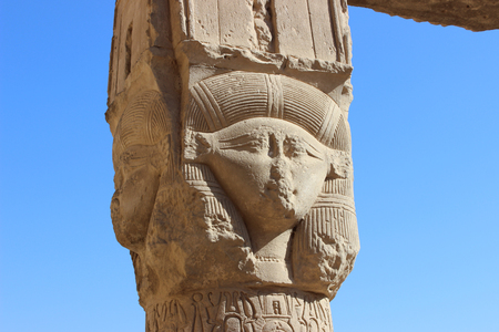 The image of the goddess Hathor on the pillar of the portico in temple complex at Dendera, Egypt Stock fotó