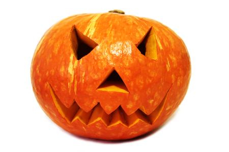 Scary halloween pumpkin (Jack-o'-lantern) isolated on white background