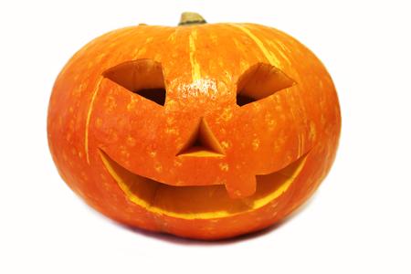 Funny smiling halloween pumpkin (Jack-o'-lantern) isolated on white background 免版税图像