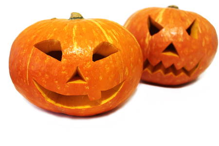 Halloween pumpkins (Jack-o'-lantern) isolated on white background 免版税图像