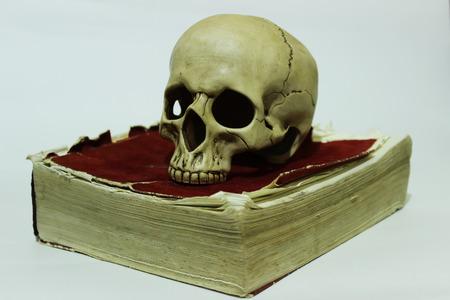 Human skull on old book 免版税图像