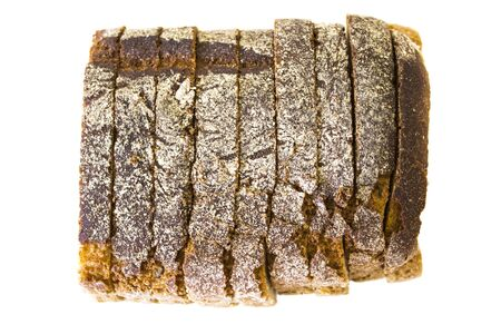 Top view of sliced bread isolated on white background