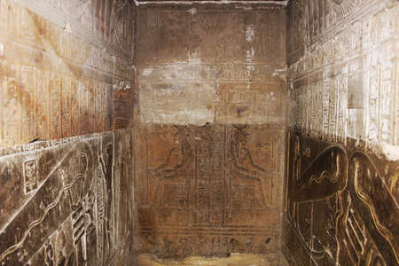 Bas-reliefs of the secret room (crypt) in the temple of Hathor at Dendera, Egypt 免版税图像