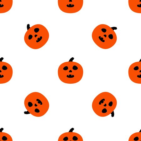 horrible: Seamless pattern with pumpkins and horrible grimaces. Illustration
