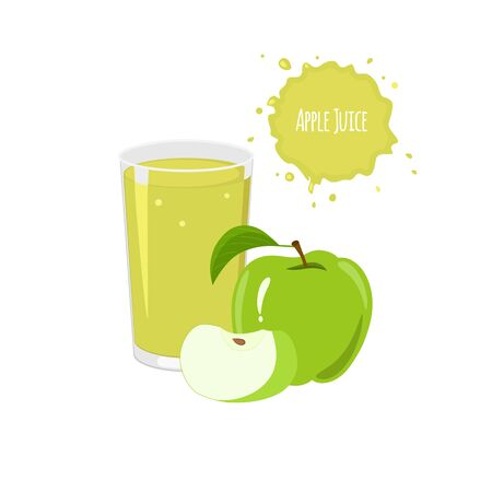 apple juice: Vector apple juice with ripe apples and slices for  package design and labels. Design elements. Apple juice.