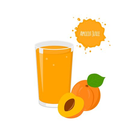 exotic fruits: Vector apricot juice with yummy apricot and  juicy slices for package design and labels. Design elements. Exotic fruits. Fruit juice. Illustration