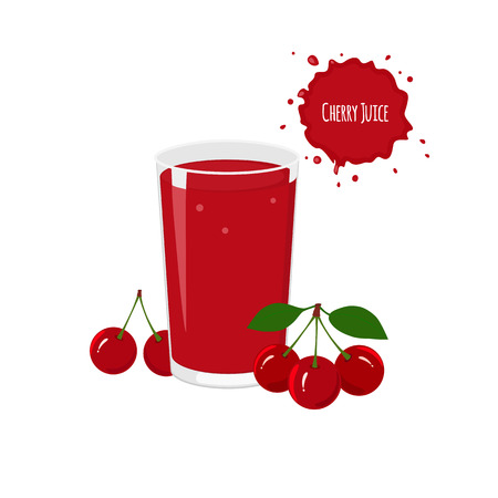 package design: Vector cherry juice with ripe cherry for package design and labels. Design elements. Cherry juice.