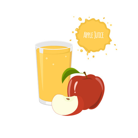 package design: Vector apple juice with red apple and slices for  package design and labels. Design elements.