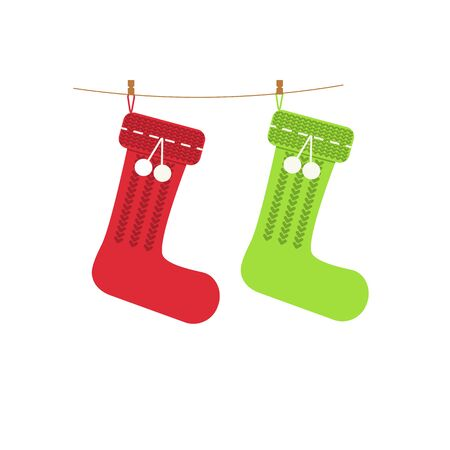 Traditional Christmas red and green knitted stocking on clothespins for holiday gifts in flat style.