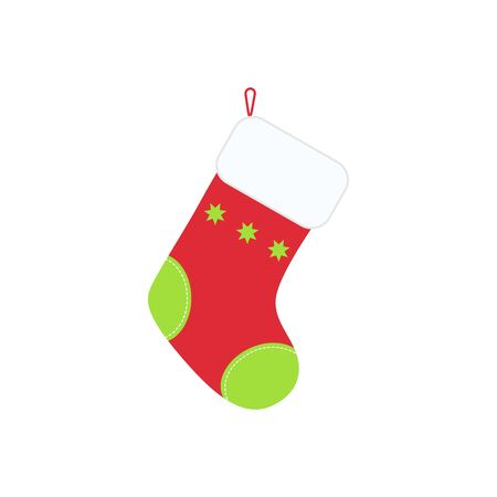 Traditional Christmas stocking for holiday gifts in flat style. Illustration