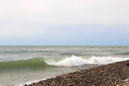 eventide: The waves of the sea. The area of the Big Sochi, Lazarevskoye, Russia.