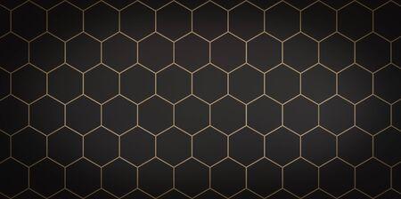 Dark background of black cells with gold stroke - 3D illustration