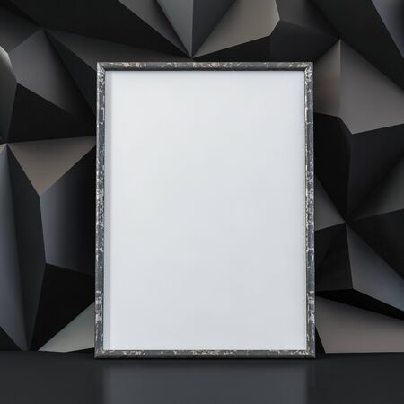 Antique empty metal frame for a picture on a black volumetric background and reflective floor - 3D illustration Stock Photo
