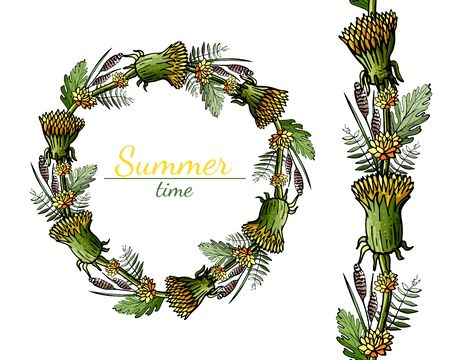 Summer field wreath of yellow and green field flowers   on white background