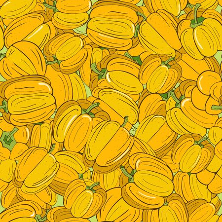 Seamless pattern of yellow peppers lying on each other Иллюстрация
