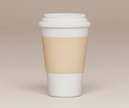 White paper cup with white lid and cardboard holder on a beige background  - 3D illustration