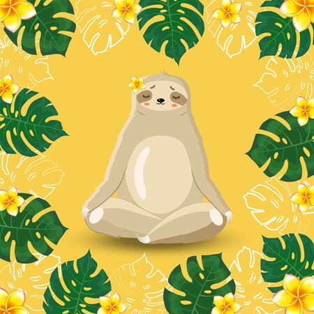 Sloth meditates surrounded by tropical leaves of monstera and flowers on a yellow background