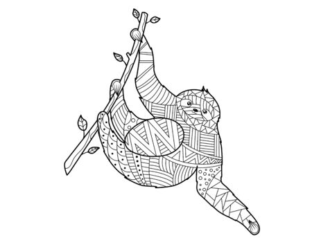 Adult sloth hanging from a Tree in a doodling style coloring page 矢量图像