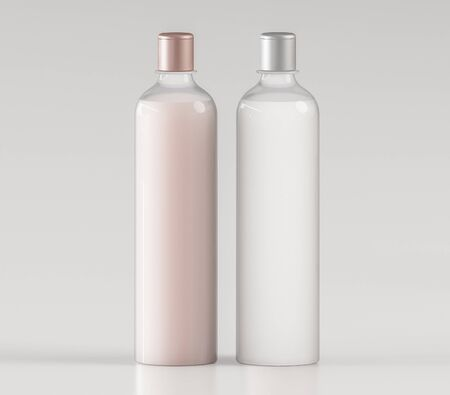 Two glass bottles with peach and white liquids on a white background mock up - 3D illustration