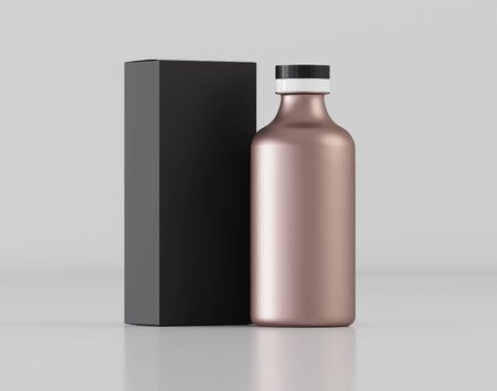 Pink gold cosmetic bottle with black empty box on a light background - 3D illustration