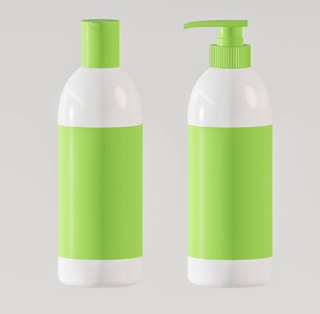 Set of two containers for cosmetics made of white plastic with green labels and caps on a white background - 3D illustration