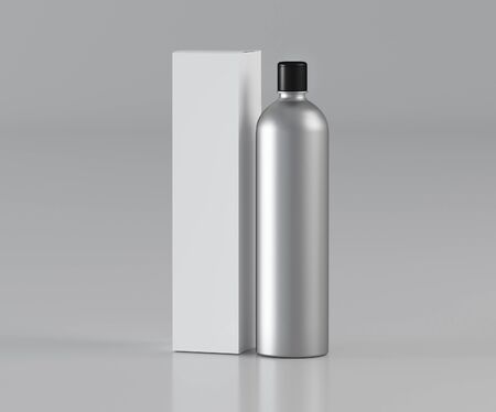 Bottle for cosmetics in silver color with a black cap and a white box on a light background - 3D illustration