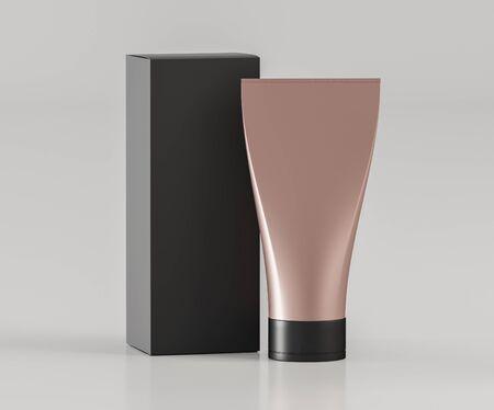 Tube of color pink gold with a black box on a light background mock up - 3D illustration Zdjęcie Seryjne