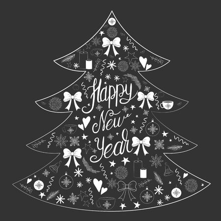 Happy New Year inscription in white in the form of a Christmas tree with doodles on a New Years theme on a black background Illustration