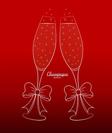 Glasses with champagne white outline with a bow on a red background