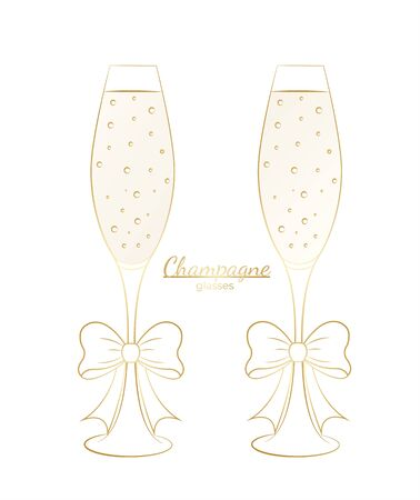 Set of glasses with champagne golden outline with bows on a white background Çizim