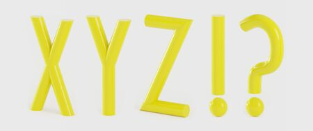 Set of capital letters XYZ alphabet in a tubular style in yellow color- 3D illustration Stok Fotoğraf