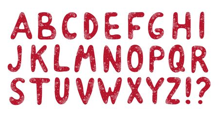 Alfabeto de Navidad rojo con patrón de copos de nieve