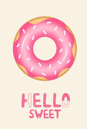 Lettering hello sweet with a pink glaze donut on a light background