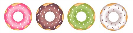 A set of donuts with icing in pink, green, white and chocolate color with sprinkles