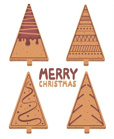 Set of Christmas cookies in the shape of a Christmas tree with a pattern of chocolate icing