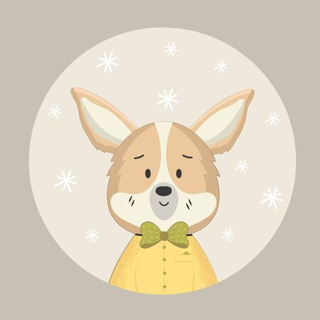 Corgi kid with bow tie in a round frame with snowflakes
