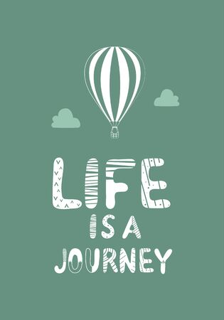 Life is journey lettering with a balloon icon Stok Fotoğraf - 132100025