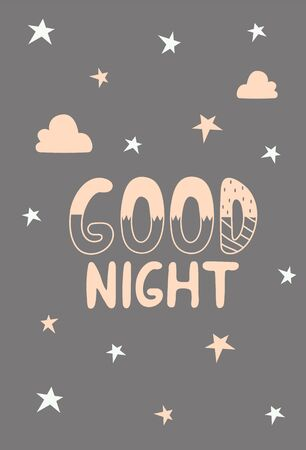 Lettering good night in Scandinavian style on a gray background with stars
