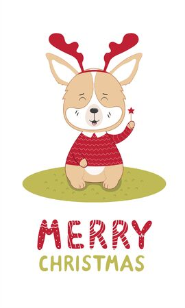 Lettering merry christmas with a dog in reindeer horns and sweater  in a scandinavian style