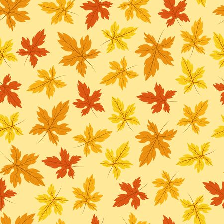 Seamless pattern of yellow and orange maple leaves on a yellow background
