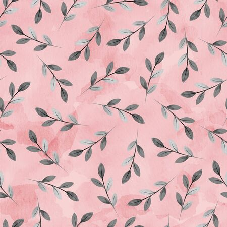 Seamless pattern of twigs with leaves in black and white with a watercolor texture on a pink background Standard-Bild - 133447282