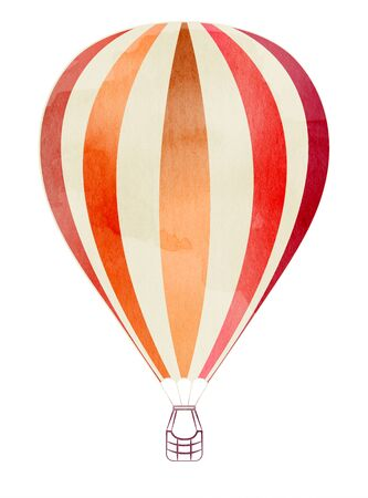 Striped balloon icon with a watercolor texture. Isolated on white background