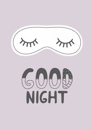 Lettering good night with a nordic style sleep mask on a lilac background