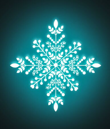 Snowflake glowing with blue neon light on a dark background  - 3D illustration