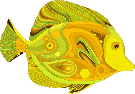 abstract sea fish Yellow Tang. Patterned design.