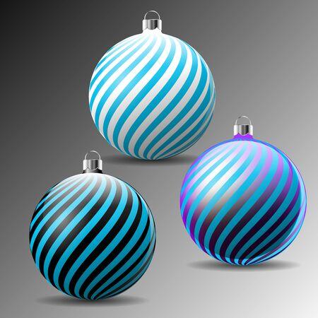 Christmas balls with diagonal print. Vector Illustration.