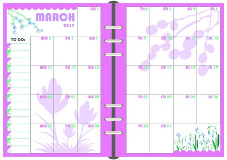 calendar daily planner template for monthly march 2017 note